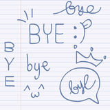 Vector hand-drawn with letter bye, Illustration Royalty Free Stock Images