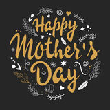 Vector hand drawn lettering with branches, swirls, flowers and quote - happy mothers day Stock Photos