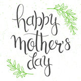 Vector hand drawn lettering with branches, swirls, flowers and quote - happy mothers day.  Can be used as card or poster Royalty Free Stock Images