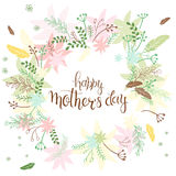 Vector hand drawn lettering circled composition surround with branches, swirls, flowers and quote - happy mothers day. Can be used Stock Images