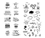 Vector hand-drawn lettering and clipart elements on sea / ocean Stock Photo