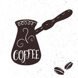 Vector hand drawn lettering coffee badge, labels, signs. Monochrome design with stylish elements. Royalty Free Stock Photos
