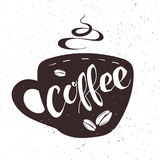 Vector hand drawn lettering coffee badge, labels, signs. Monochrome design with stylish elements. Stock Photos