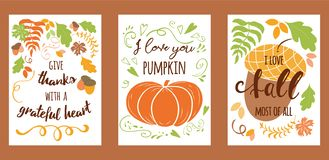 Cartoon vector hand drawn autumn Happy Thanksgiving Day cards. Vertical banners design templates set. Vector hand drawn lettering element Happy Thanksgiving Day royalty free illustration