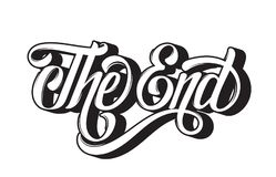 Vector hand drawn  lettering ` The end`. Made in vintage style.   Template for card, banner, print for t-shirt Royalty Free Stock Photography