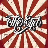 Vector hand drawn  lettering ` The end `. Made in vintage style.   Template for card, banner, print for t-shirt Stock Images