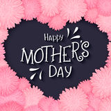 Vector hand drawn lettering with  flowers heart and quote - happy mothers day. Can be used as gift card, flyer or poster Royalty Free Stock Images