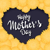 Vector hand drawn lettering with  flowers heart and quote - happy mothers day. Can be used as gift card, flyer or poster Royalty Free Stock Photo