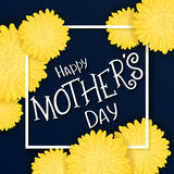 Vector hand drawn lettering with  flowers, rectangle frame and quote - happy mothers day. Can be used as gift card, flyer or poste Stock Images