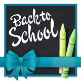 Vector hand drawn lettering greetings label - back to school - with realistic ribbon and pencils on chalkboard background. Can be Stock Photo