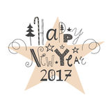 Vector hand drawn lettering Happy New Year 2017. Vector hand drawn lettering sign Happy New Year 2017. Text design for greetings, card, invintations or postcards Stock Image