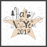 Vector hand drawn lettering Happy New Year 2017. Vector hand drawn lettering sign Happy New Year 2017. Text design for greetings, card, invitations or postcards Stock Images