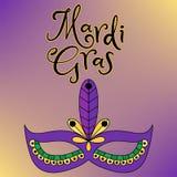 Vector hand drawn lettering illustration eps10 for Mardi gras carnival stock illustration