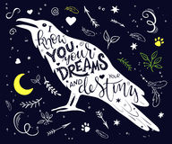 Vector hand drawn lettering inscribed in raven silhouette surrounded with curly, swirly, arrow, feather shapes.  Stock Photo