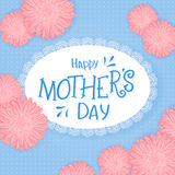 Vector hand drawn lettering with lacy napkin flowers and quote - happy mothers day. Can be used as gift card, flyer or poster Royalty Free Stock Photography