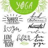 Vector hand drawn lettering overlays set about yoga and healthy lifestyle. Collection of quotes and phrases for yoga design royalty free stock images
