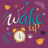Vector hand drawn lettering phrase - wake up  - with alarm clock and brunches. Design for t-shirt, wall art prints, home interior Royalty Free Stock Image