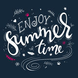 Vector hand drawn lettering quote - enjoy summer time - with decorative elements - swirls, curls, branches, flowers Stock Photos
