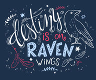 Vector hand drawn lettering with raven surrounded with curly, swirly, arrow, feather shapes Stock Photos