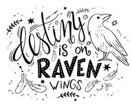 Vector hand drawn lettering with raven surrounded with curly, swirly, arrow, feather shapes.  Stock Images