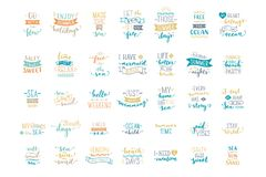 Vector hand-drawn lettering on sea / ocean theme. Stock Photography