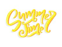Vector hand drawn lettering - Summer time. Isolated calligraphy for travel agency, summer party. Great design for Royalty Free Stock Photos
