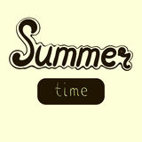 Vector hand drawn lettering - Summer time. Isolated calligraphy for travel agency, summer party. Stock Photography