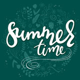 Vector hand drawn lettering text - summer time - with decorative elements - swirls, curls, branches, flowers, feathers Stock Photos