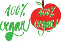 Vector Hand drawn lettering 100% Vegan and text in red apple, bio green logo or sign. Vector Hand drawn lettering 100% Vegan and text in red apple, bio green Royalty Free Stock Photos