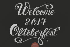 Vector hand drawn lettering - Welcome 2017 Oktoberfest for Oktoberfest Beer Festival. Elegant modern handwritten Royalty Free Stock Photos