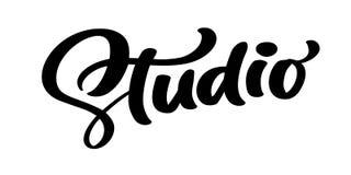 Vector hand drawn lettering word Studio. Elegant modern handwritten calligraphy quote on English. Ink illustration vector illustration