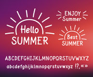 Vector hand-drawn letters. Hallo summer. Vector hand-drawn letters. Sans serif. Uppercase and lowercase letters. Doodle type. White print on blurred background Royalty Free Stock Images