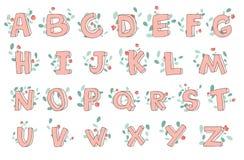 Vector hand-drawn leuk alfabet met bloemendecoratie, doopvont, brieven 3D krabbel ABC voor jonge geitjes Stock Afbeeldingen