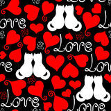 Vector hand drawn line red, black and white hearts, lettering and cats seamless background Stock Photo