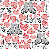 Vector hand drawn line red, black and white hearts, lettering and cats seamless background Stock Photos