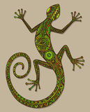 Vector hand drawn lizard or salamander with ethnic tribal patter Royalty Free Stock Image