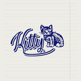Vector hand drawn logo with a kitten Royalty Free Stock Images