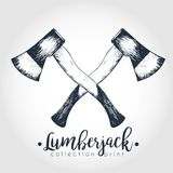 Vector hand drawn logo of two crossed axes. Lumberjack print collection. Vintage engraved art. Stock Photography