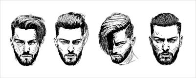 Vector hand drawn man hairstyle silhouettes illustration on white background stock illustration