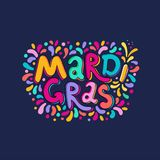 Vector Hand drawn Mardi Gras Lettering text inscription. Carnival Title With Colorful Party Elements, confetti fireworks. Hand drawn Mardi Gras text Lettering vector illustration