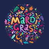 Vector Hand drawn Mardi Gras Lettering text inscription round shape. Carnival Colorful Party Elements confetti fireworks royalty free stock image