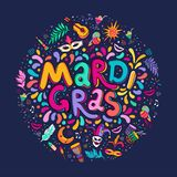 Vector Hand drawn Mardi Gras Lettering text inscription round shape. Carnival Colorful Party Elements confetti fireworks royalty free illustration