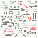 Vector hand-drawn marker arrows Royalty Free Stock Photos