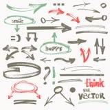 Vector hand-drawn marker arrows Royalty Free Stock Photos