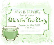 Vector hand drawn matcha tea party invitation card, vintage frame, glass and leaves.  Stock Photography