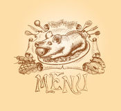Vector hand drawn menu title design Stock Photography