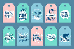 Vector hand drawn milk cards or labels. Signs set for dairy produce. Tags collection for cartons, advertising etc. Stock Photo