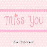 Vector hand drawn miss you card, Illustration EPS10 Royalty Free Stock Image