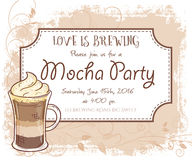 Vector hand drawn mocha party invitation card, vintage frame, glass and leaves Royalty Free Stock Images