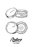 Vector hand drawn monochrome illustration of face tonal powder Royalty Free Stock Photo